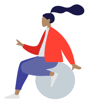 Vector image of female sitting on a light grey ball
