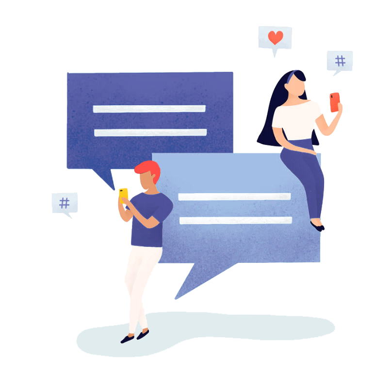 Vector image of 2 people using phone for messaging