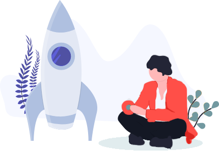 Vector image of man sitting beside a sky rocket